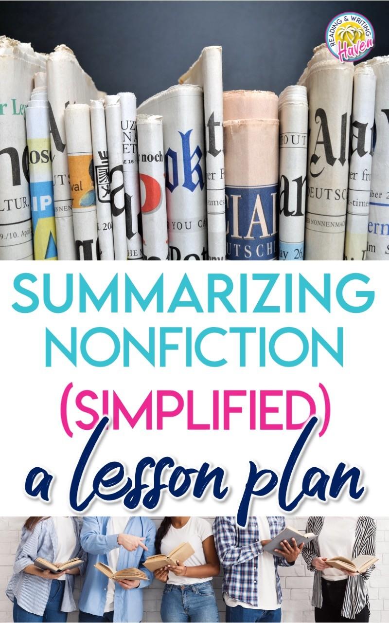 Nonfiction summary lesson plan; engaging and practical #Summarizing #Nonfiction #EnglishLanguageArts