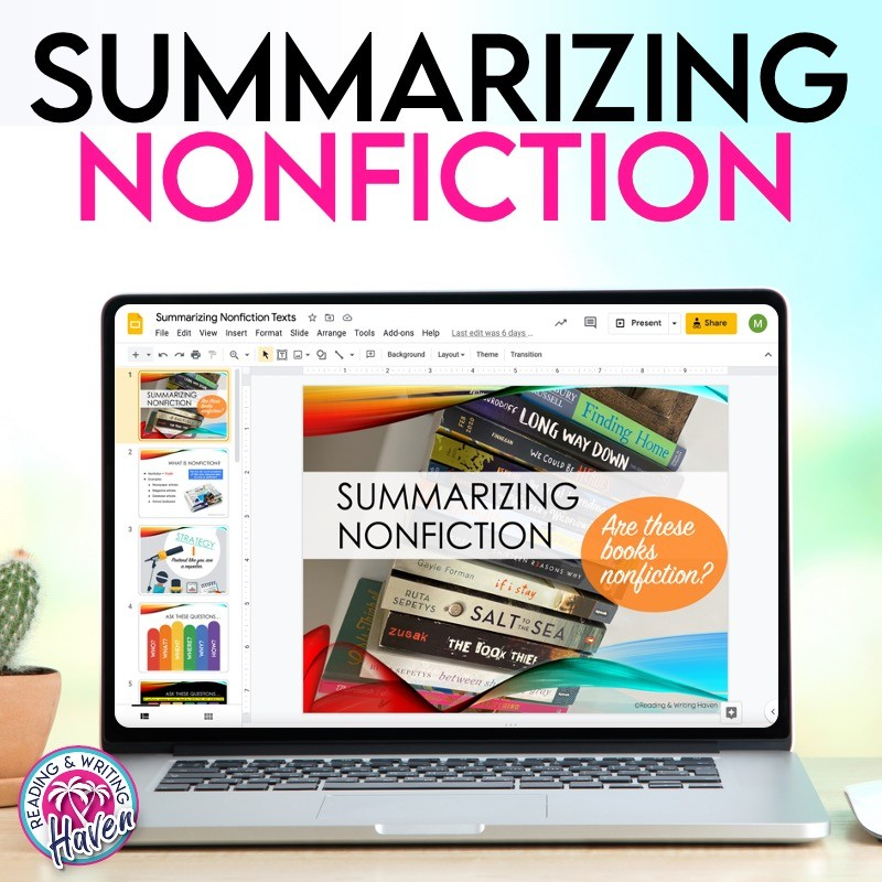 A lesson plan for summarizing nonfiction; simple and memorable