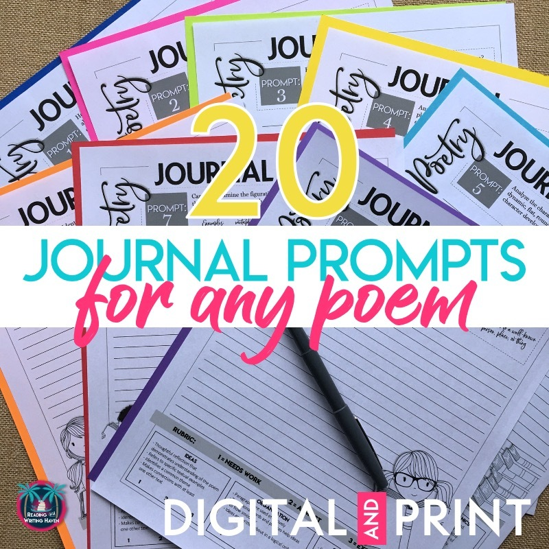 20 journal prompts for responding to any poem #HighSchoolELA #MiddleSchoolELA