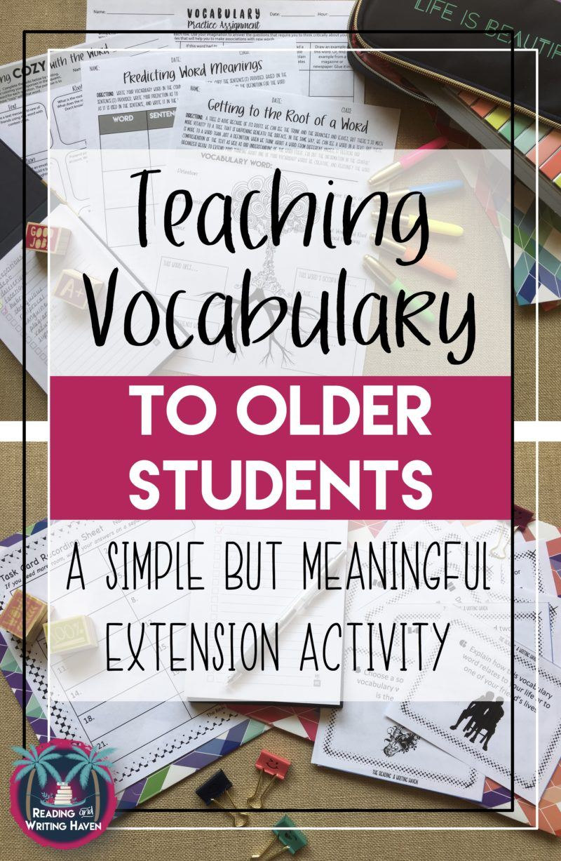Teaching vocabulary in high school? Try this simple yet meaningful extension activity.
