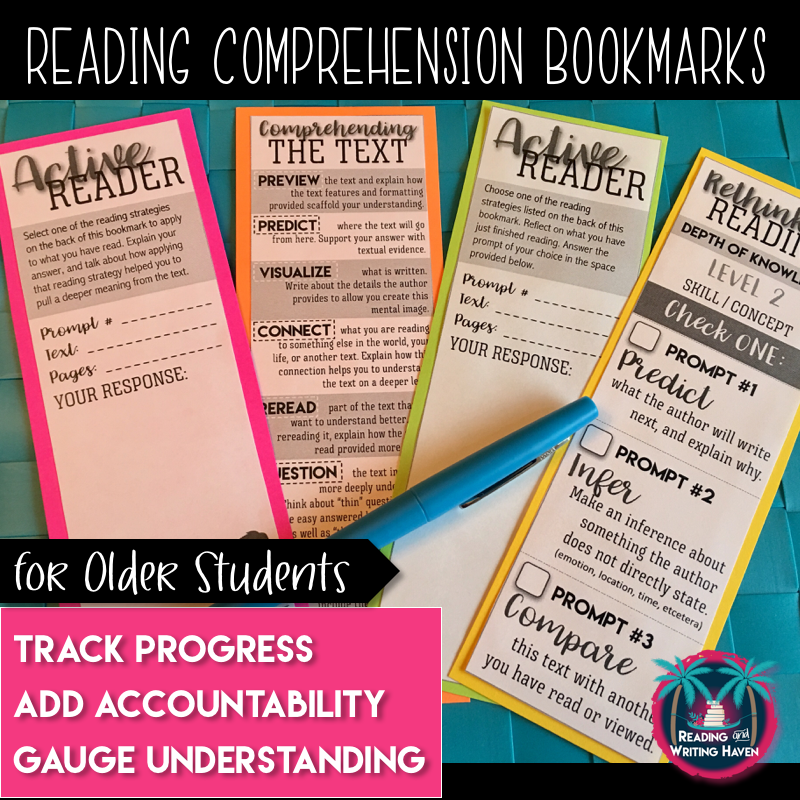 Reading comprehension bookmarks for struggling readers from Reading and Writing Haven