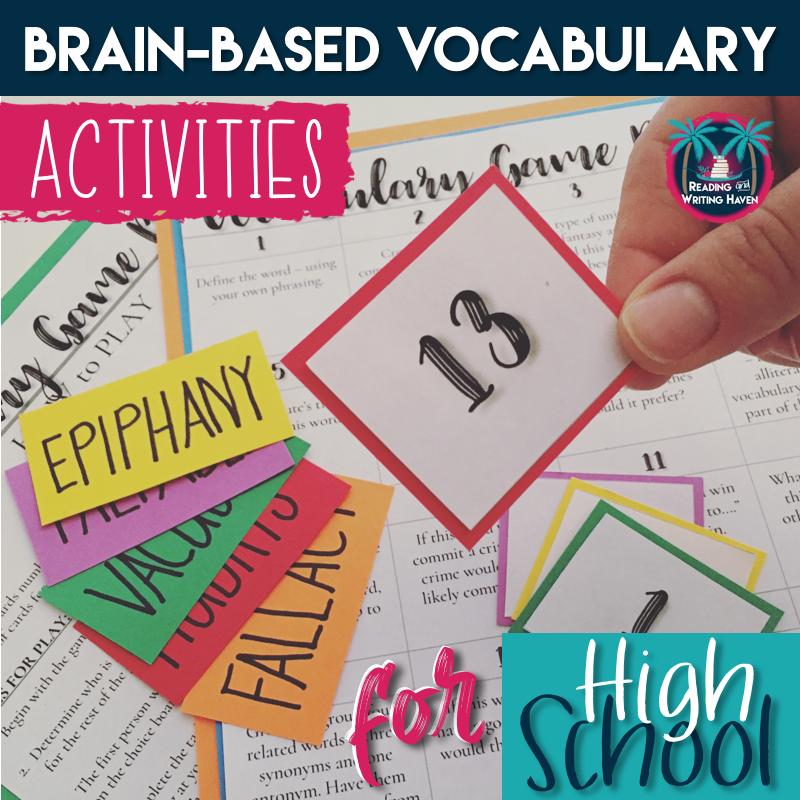 Engaging brain-based vocabulary activities for high school that work with any Tier 2 word list, including vocabulary speed dating, a student-led game, and a continuum with goal setting extension from Reading and Writing Haven