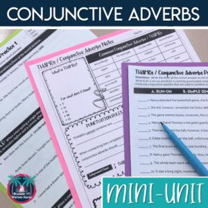 Conjunctive adverbs grammar mini unit for middle school or high school ELA #grammarlesson