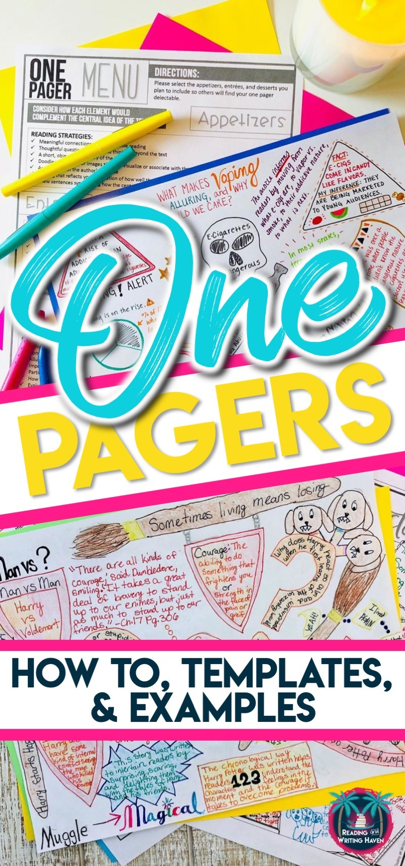 How to use one pagers plus lesson plans, examples, and templates for middle and high school #OnePager #LiteraryAnalysis #HighSchoolELA