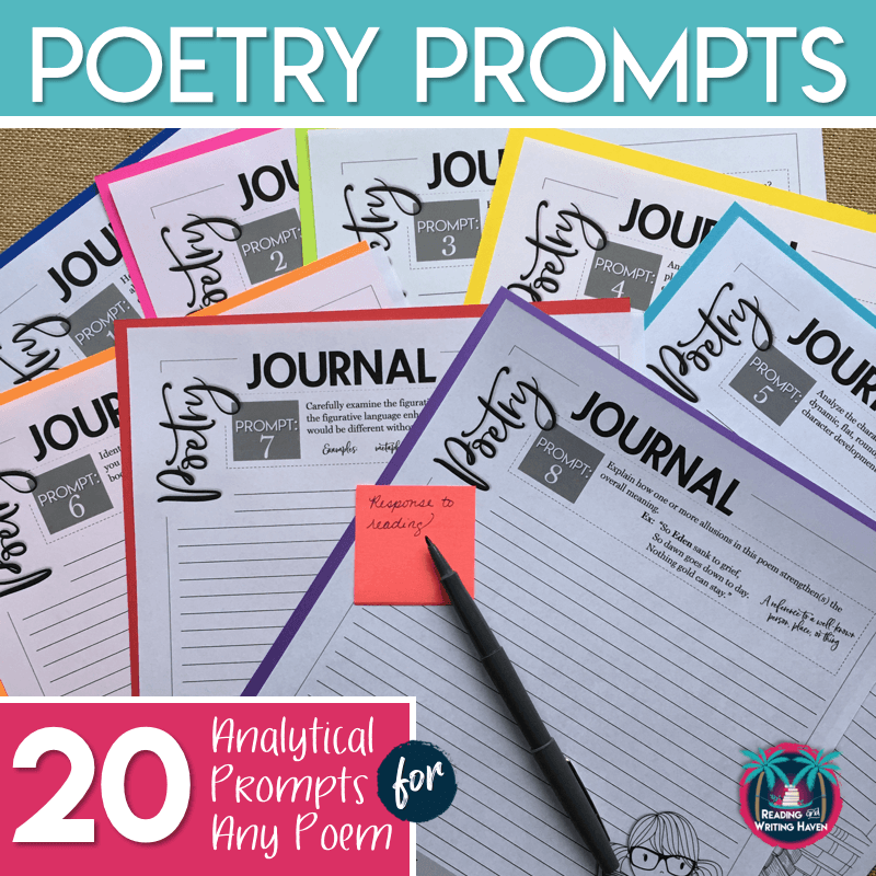 Use these poetry journal writing prompts to help students respond analytically to any poem. #highschoolela #poetryresponse
