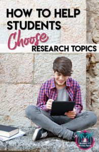 Help students choose research topics by offering choice but providing appropriate scaffolding to increase confidence and reduce frustration. #highschoolela #researchpapertopics