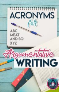 Argumentative writing acronyms for each paragraph #middleschoolela #argumentativewriting #scaffolding