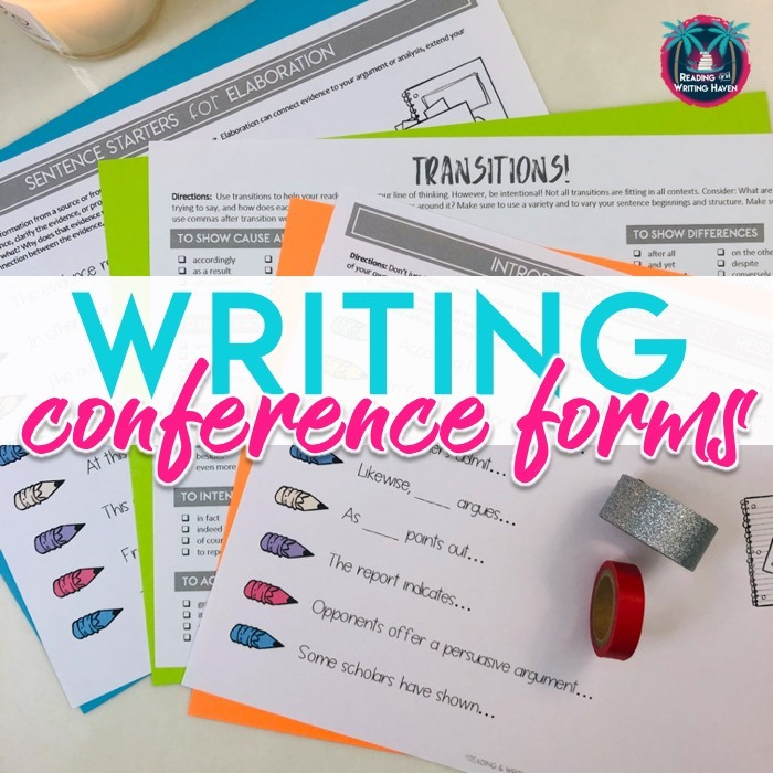 Convenient writing conference forms for middle and high school #MiddleSchoolELA #HighSchoolELA #WritingWorkshop