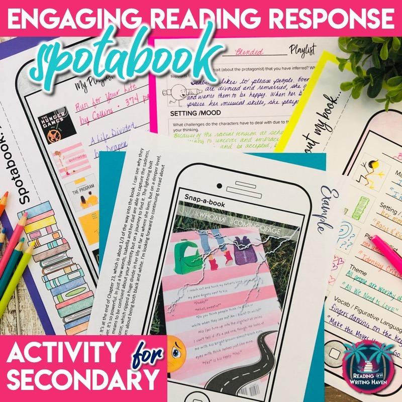 An engaging post-reading activity that combines booksnaps and social media - spotabook! #MiddleSchoolELA #HighSchoolELA
