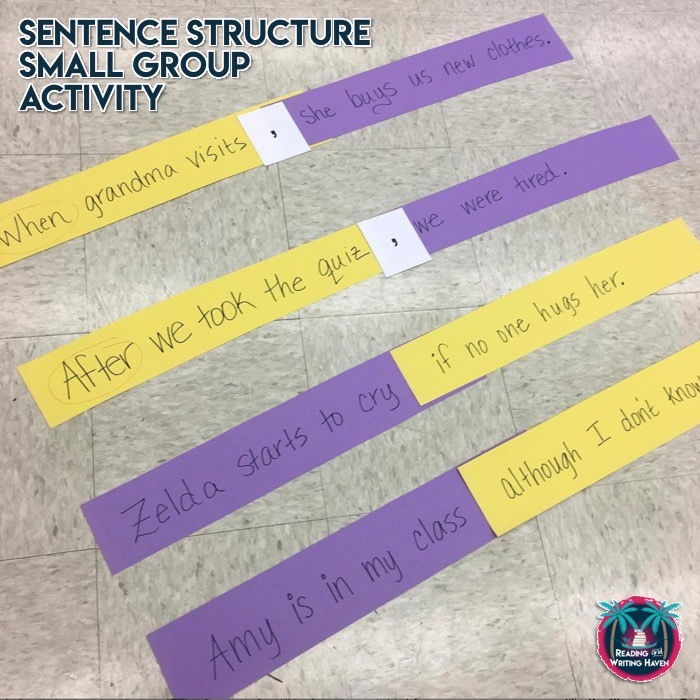Small group intervention activity for how to teach sentence structure to struggling students #sentencestructure #middleschoolela
