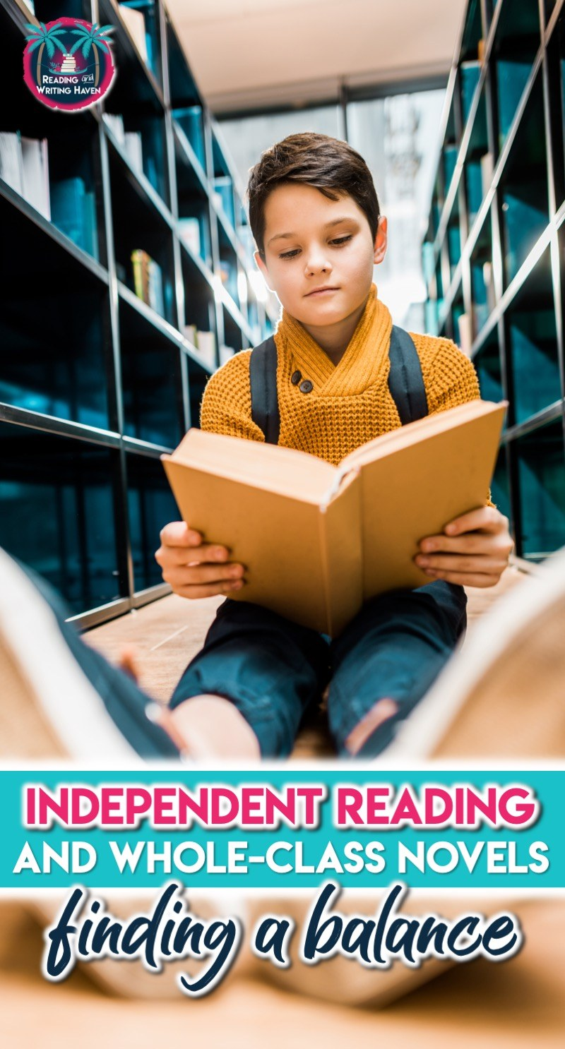 Tips for balancing whole-class novels and independent reading in middle and high school. How to make time for both. #independentreading #highschoolela