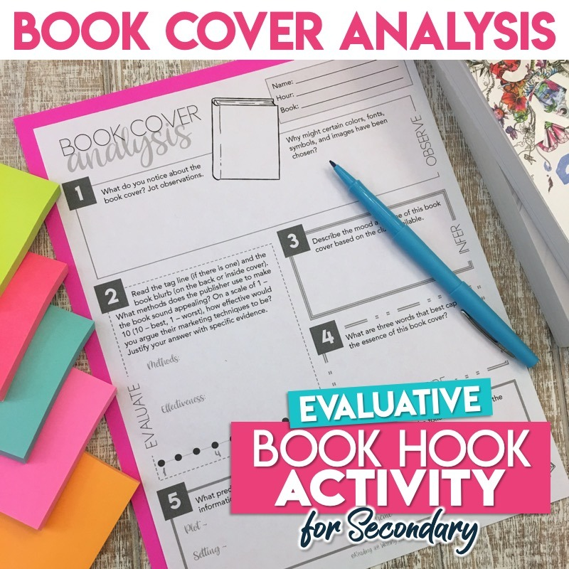 Engaging book cover activity for evaluation and analysis plus an informative writing extension assignment #bookcover #HighSchoolELA
