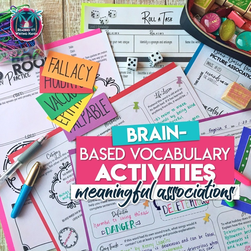 Brain-based vocabulary activities for middle and high school students - increase learning and engage students! #VocabularyActivities #HighSchoolELA