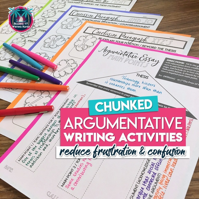 Scaffold argumentative writing for students by chunking large tasks into smaller ones #ArgumentativeWriting #HighSchoolELA