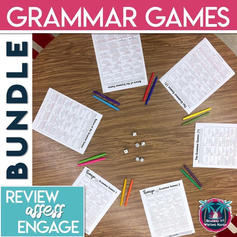 Grammar games for review in middle or high school ELA #grammargames #EnglishTeacher