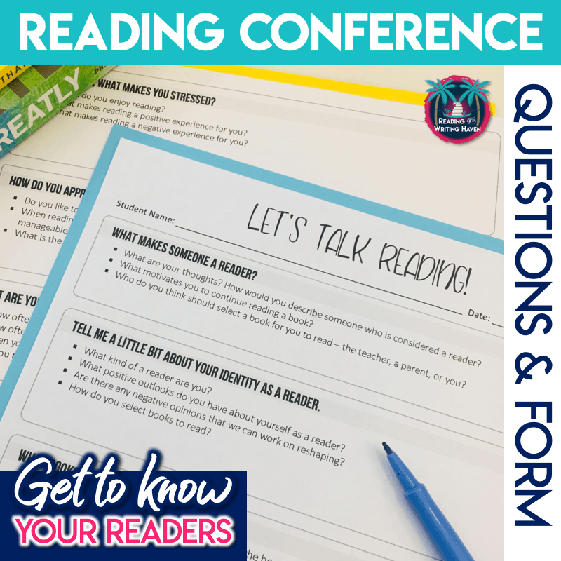 Try these reading conference form questions for getting to know your readers in middle and high school #ReadingTeacher #ReadingConferences