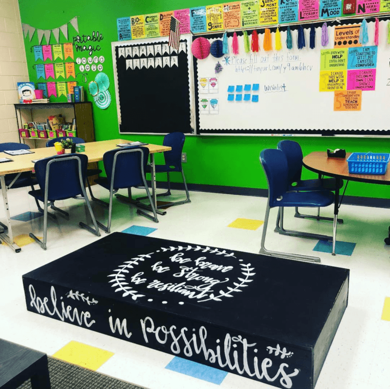 Looking for classroom setup options? Don't forget a stage that doubles as flexible seating! #FlexibleSeating #ClassroomDecor