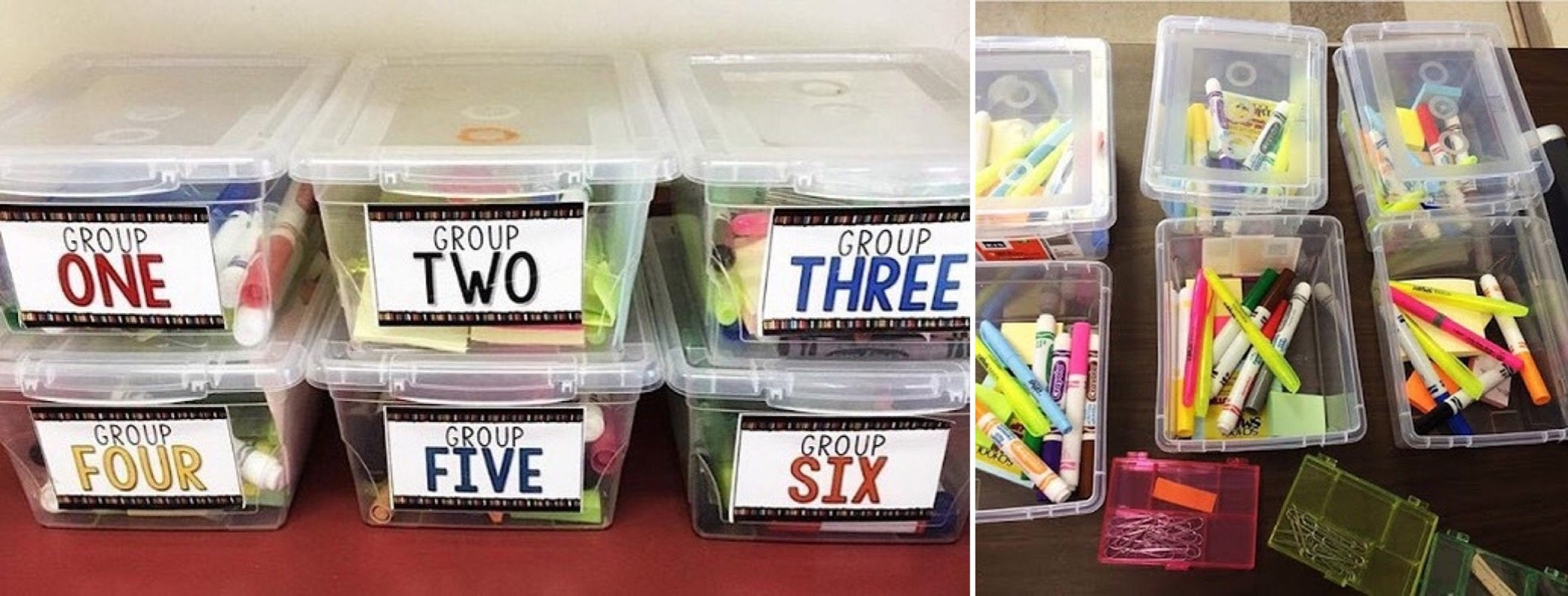Group work kits help to organize supplies and make for quick transitions #ClassroomOrganization #SecondaryELA