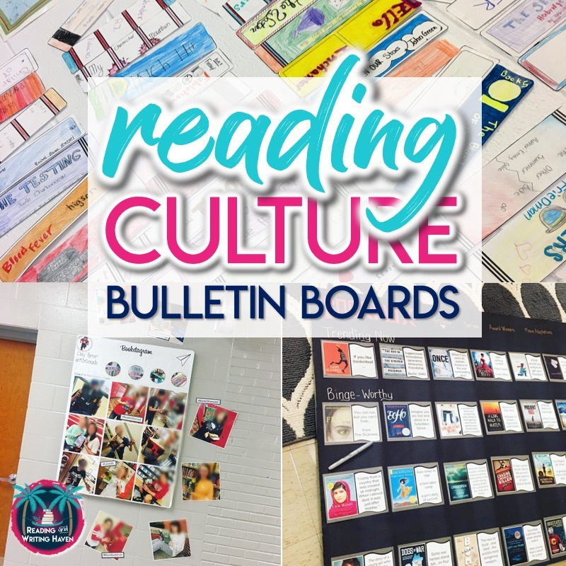 Reading bulletin board ideas for middle school and high school #BulletinBoards #HighSchoolELA