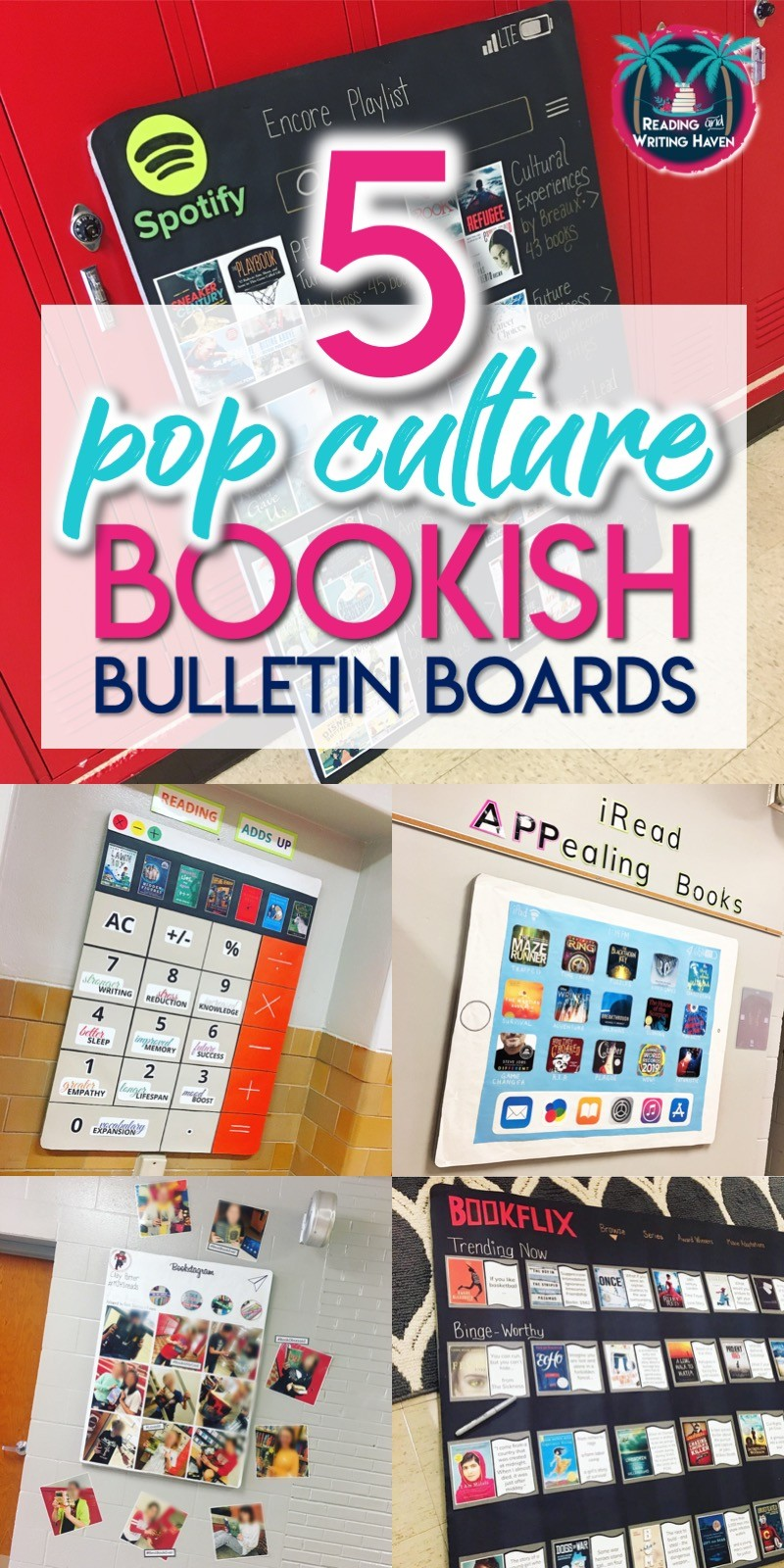 5 reading bulletin boards; bookish ideas with a splash of pop culture for middle and high school #BulletinBoardIdeas #HighSchoolELA