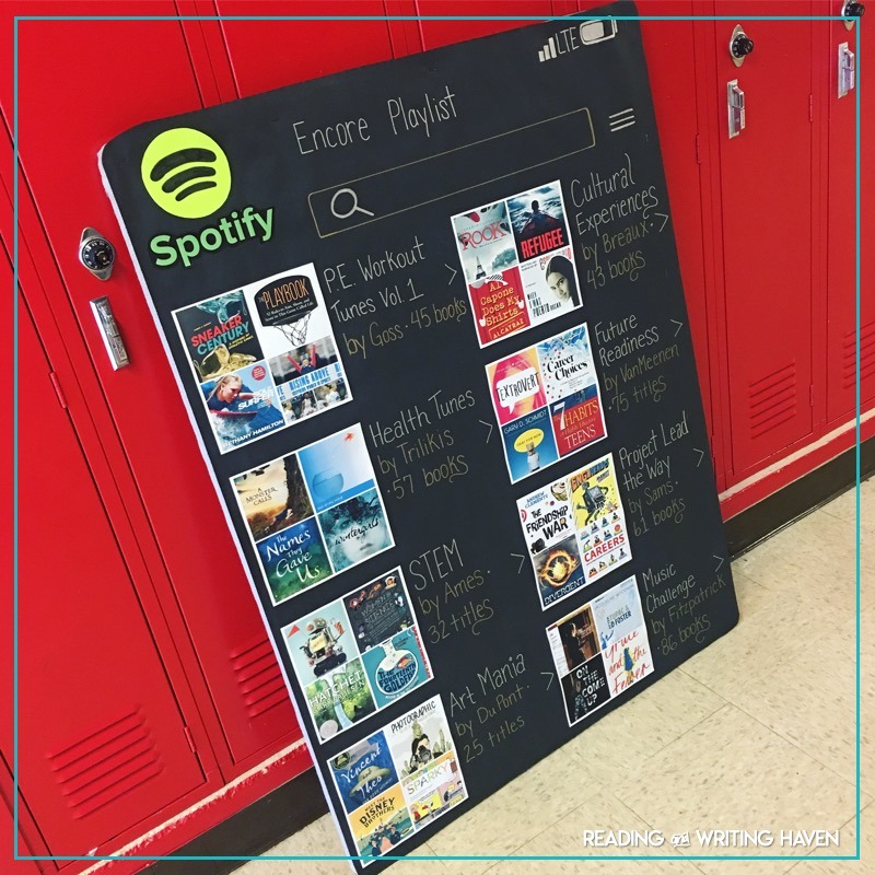 Spotify book bulletin board idea #MiddleSchoolELA #BulletinBoards