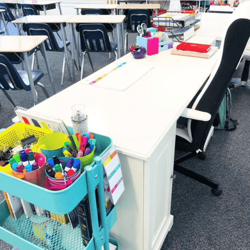 IKEA teacher desk organization for classroom setup #TeacherDesk #SecondaryELA