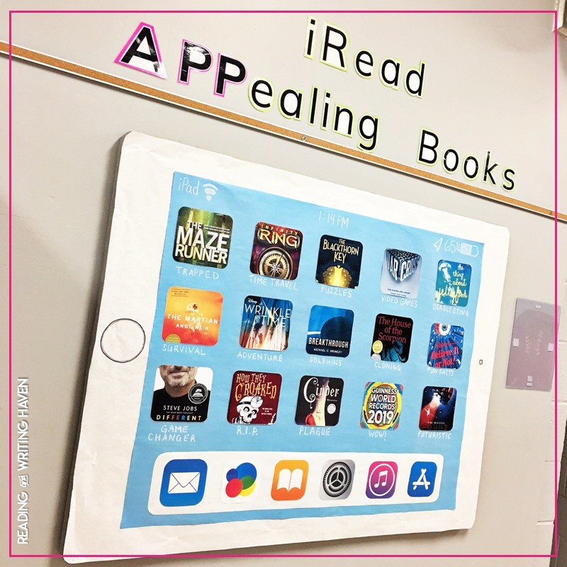 iPad bulletin board idea for bookish culture #ClassroomDecor #HighSchoolELA