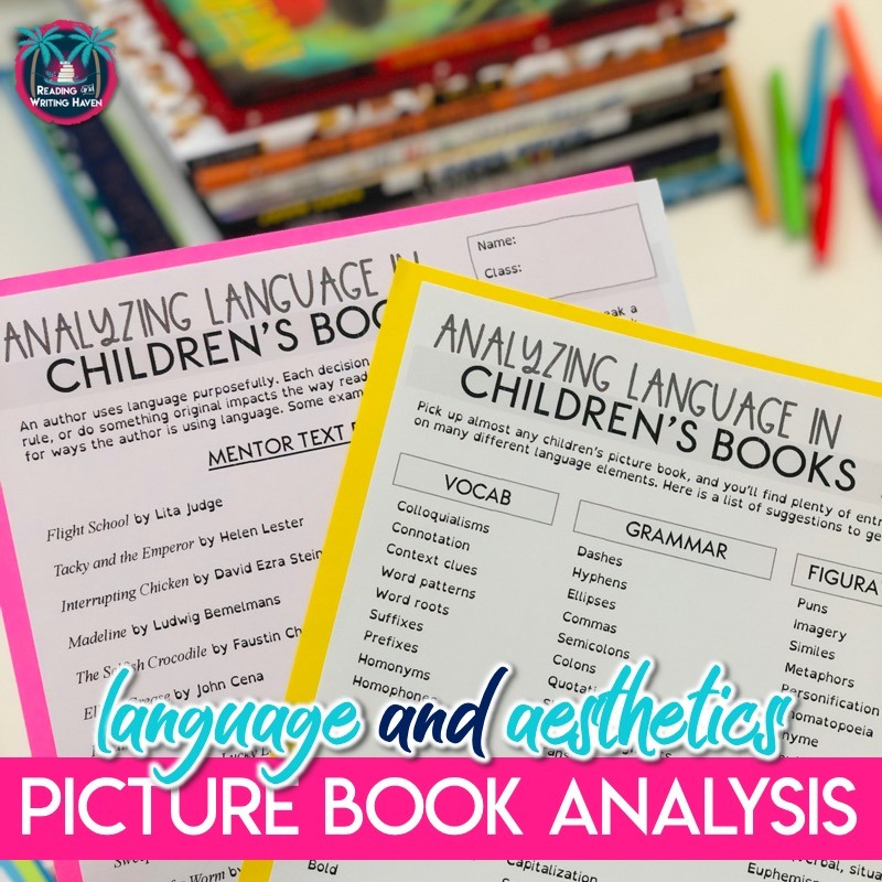 Engage students in a meaningful language mini lesson with these graphic organizers for picture book analysis. Look at vocabulary, figurative language, grammar, and aesthetics using any mentor text. #LiteraryAnalysis #PictureBooks #MiddleSchoolELA #ReadingWorkshop