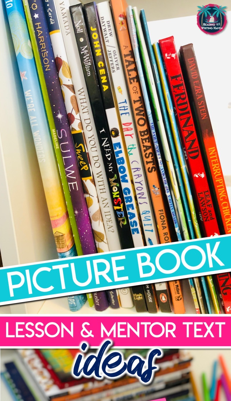 Analyzing children's books? Read about some high-interest picture book analysis lesson ideas and mentor text suggestions for use with reading minilessons. #ReadingTeacher #MiddleSchoolELA #HighSchoolELA #MentorTexts