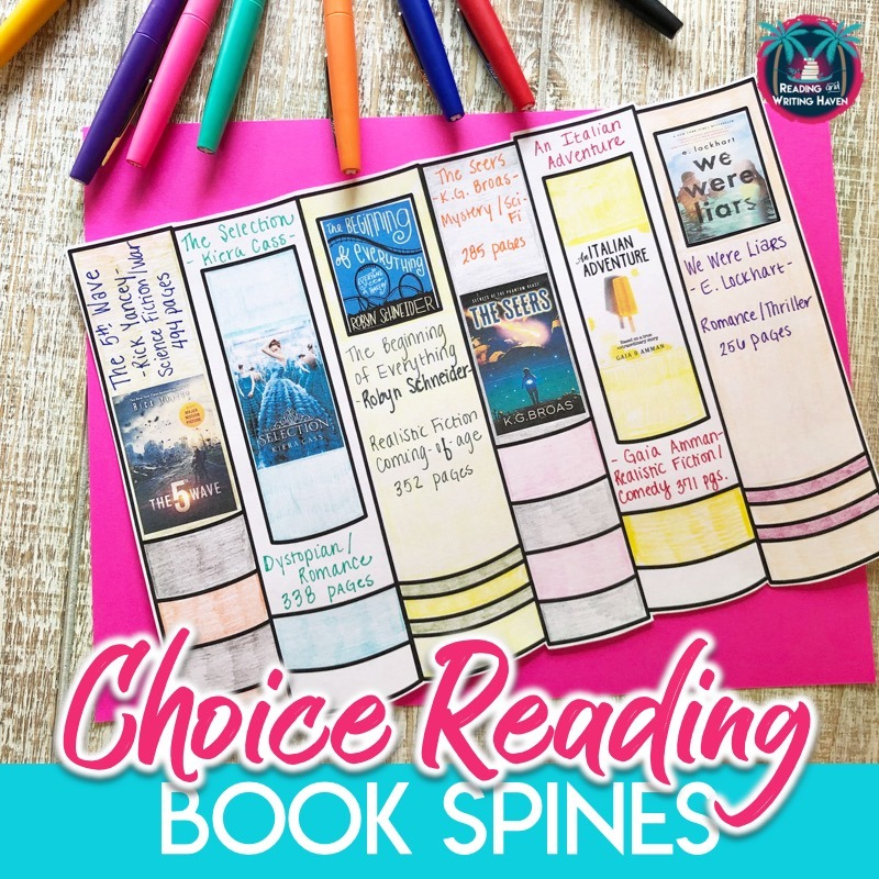 Book spines for tracking independent reading and creating a community of readers #ChoiceReading #BookSpines #IndependentReading #EnglishTeacher