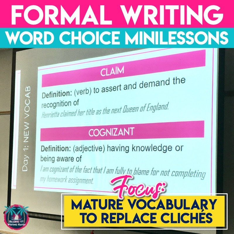 Vocabulary to replace cliches...a three-week formal writing unit full of mature vocabulary to replace cliches and elementary wording #WordChoiceLessons #HighSchoolELA #WritingActivities #VocabularyActivities