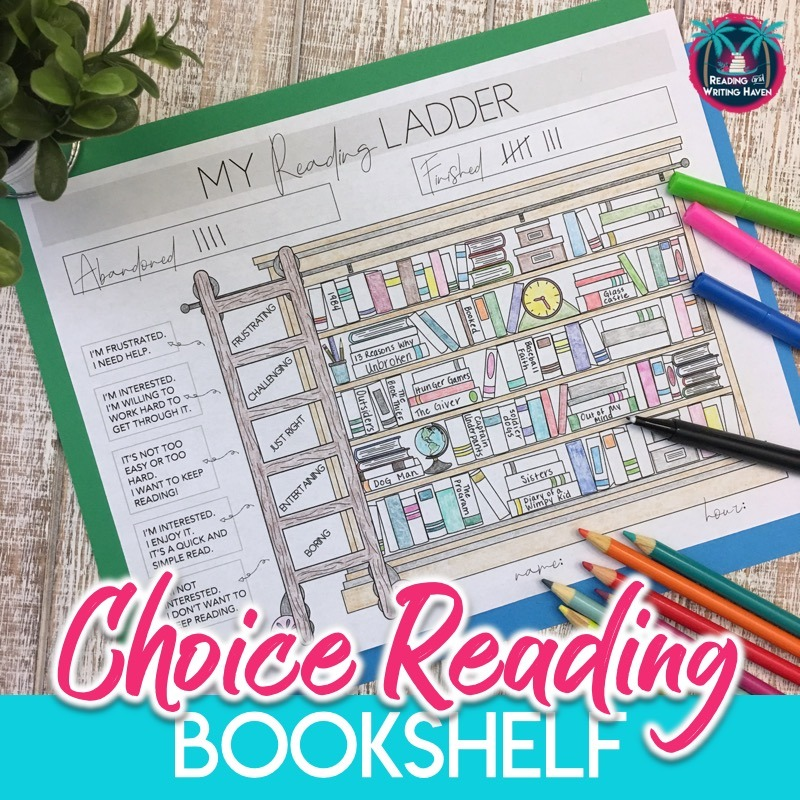 My reading ladder is a unique way for students to track and self-evaluate their reading diet. #ChoiceReading #MiddleSchoolELA #HighSchoolELA