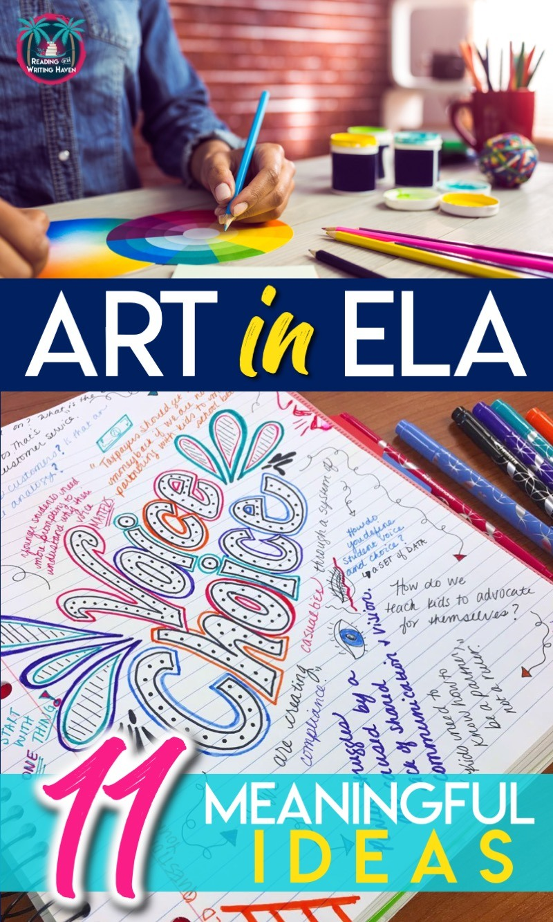 11 meaningful ways to add art in English class #MiddleSchoolELA #HighSchoolELA #ArtinELA