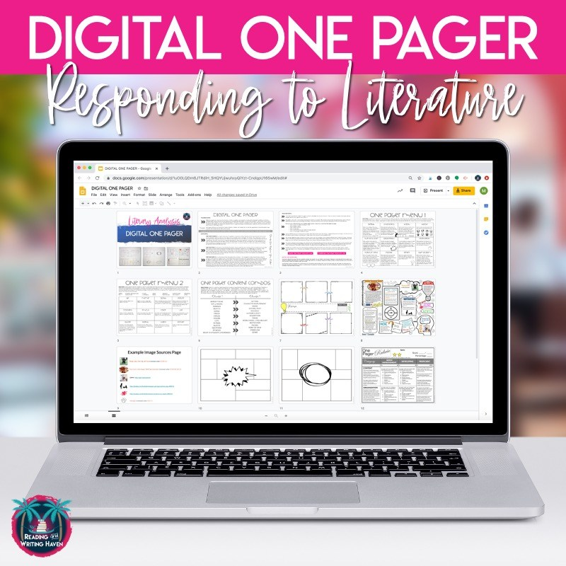 Digital one pager for online learning #OnePager #DigitalTeaching #MiddleSchoolELA #HighSchoolELA