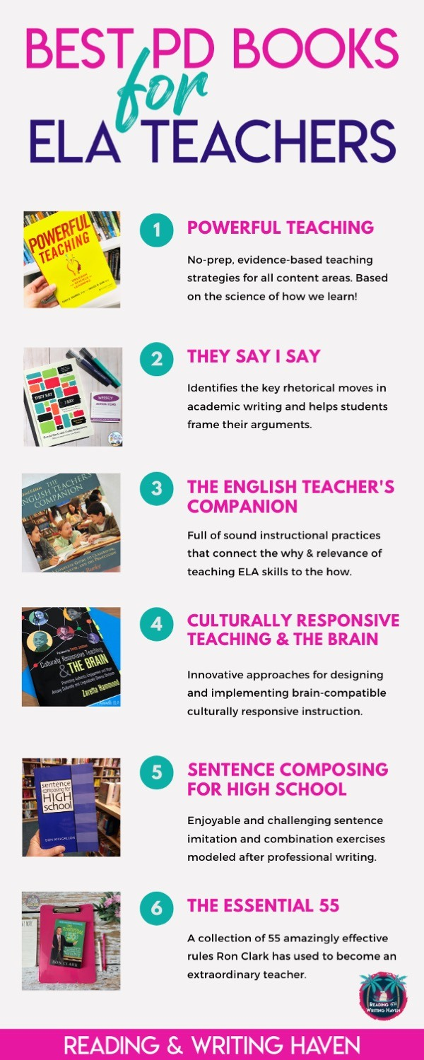 Six of the best ELA PD books for middle and high school teachers! Find inspiration to level up your teaching. #ELATeacher #PDBooks #MiddleSchoolELA #HIghSchoolELA