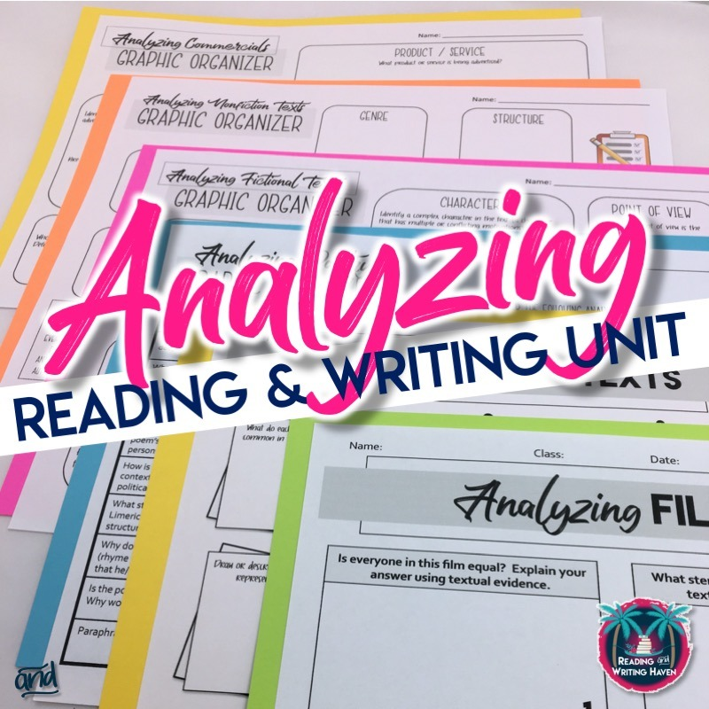 Scaffolded literary analysis reading and writing unit for middle and high school #LiteraryAnalysis #MiddleSchoolELA #HighSchoolELA