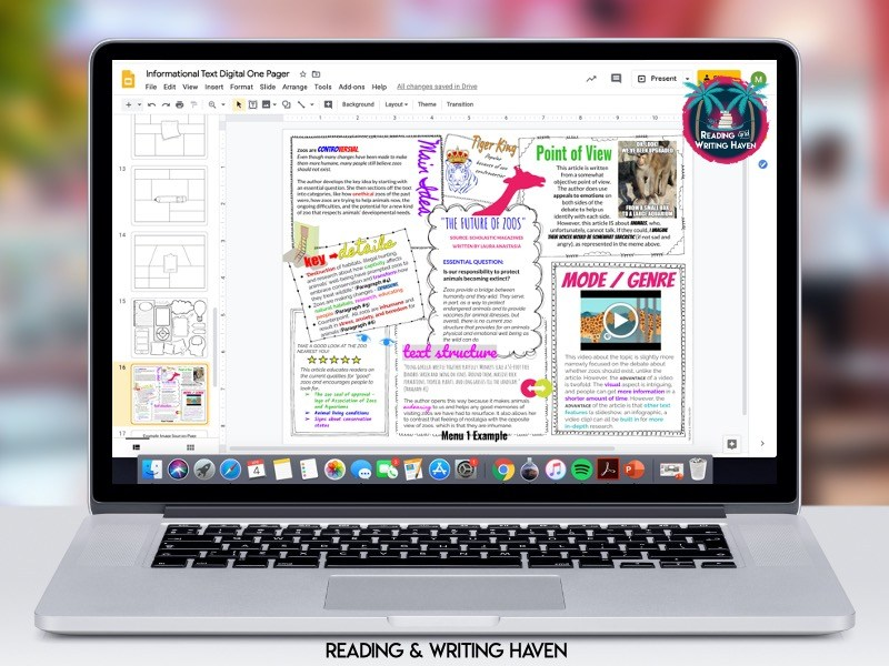 Digital one pager example for distance learning from Reading and Writing Haven