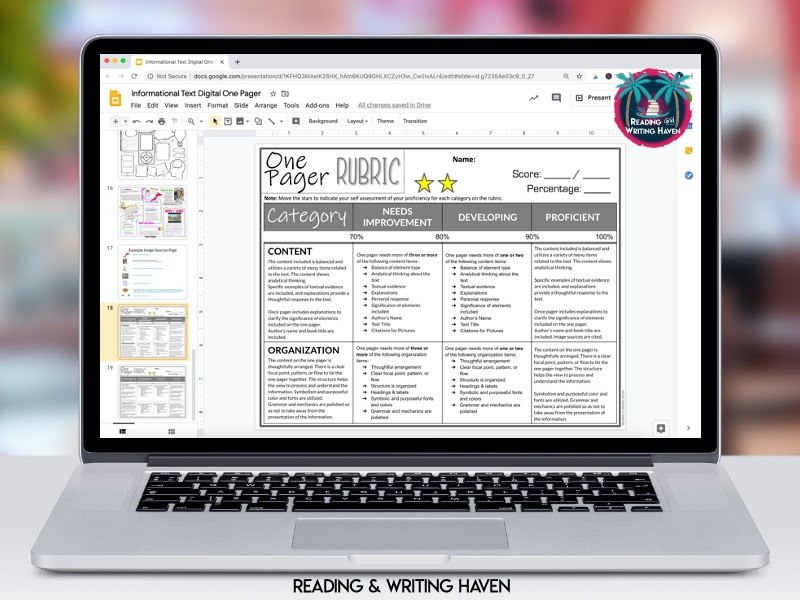 Digital one pager rubric from Reading and Writing Haven