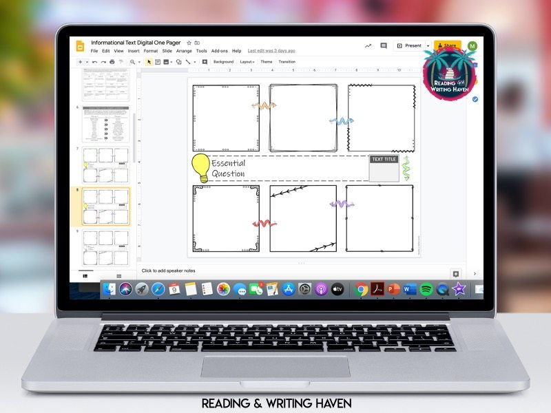 Digital one pager templates from Reading and Writing Haven