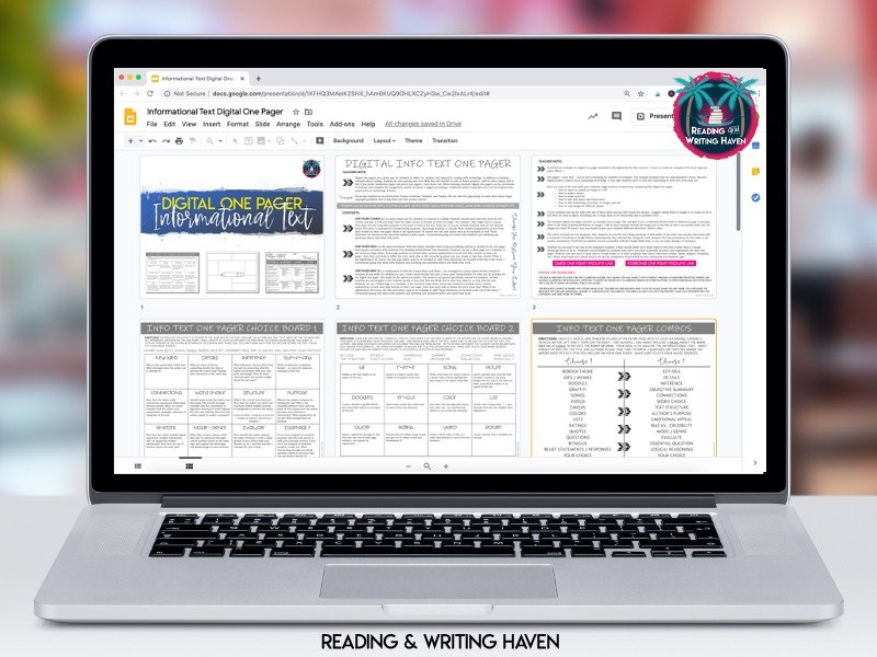 Digital one pager choice boards from Reading and Writing Haven