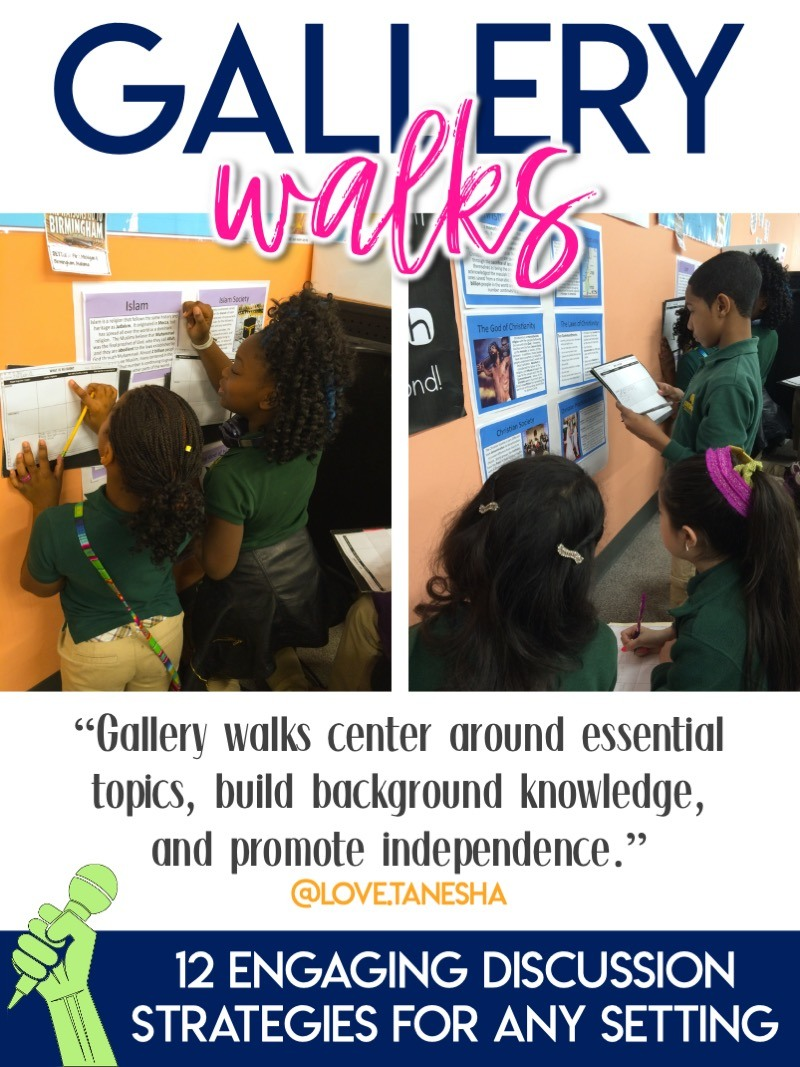 Ideas for using gallery walks in person and virtually #ClassDiscussions #MiddleSchool #HighSchool