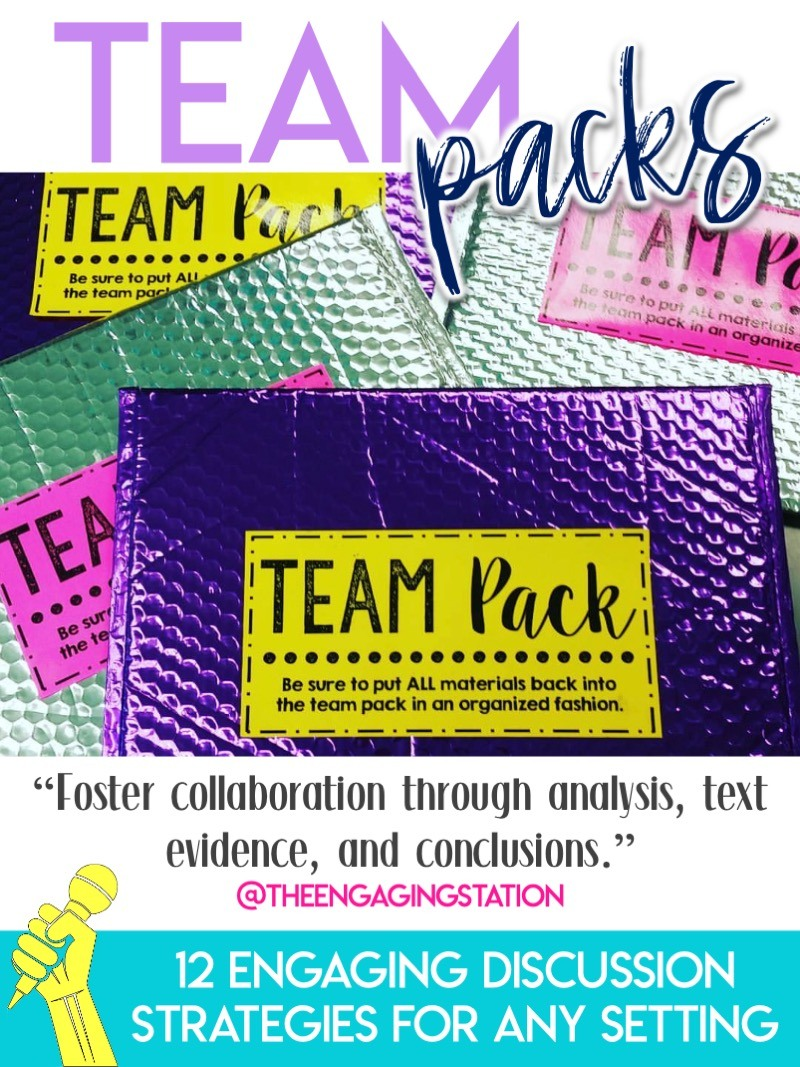 Team packs are a fun, novel way to engage students in classroom discussions #ClassroomDiscussions #EngagingELA #MiddleSchool #HighSchool