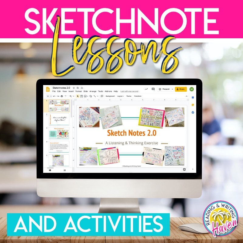 Get started with sketchnotes in the classroom using these engaging introductory lessons! #Sketchnotes #Notetaking #HighSchoolELA #MiddleSchoolELA