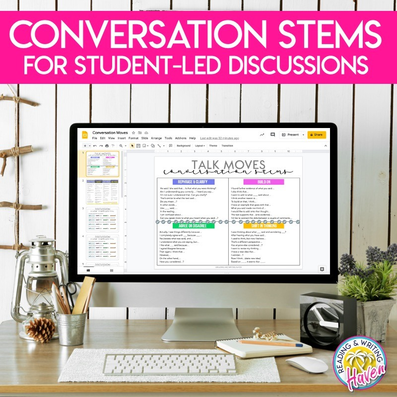 Discussion stems help middle and high school students to learn academic conversation phrases that push conversation beyond the surface level. #ClassroomDiscussions #MiddleSchoolELA #HighSchoolELA