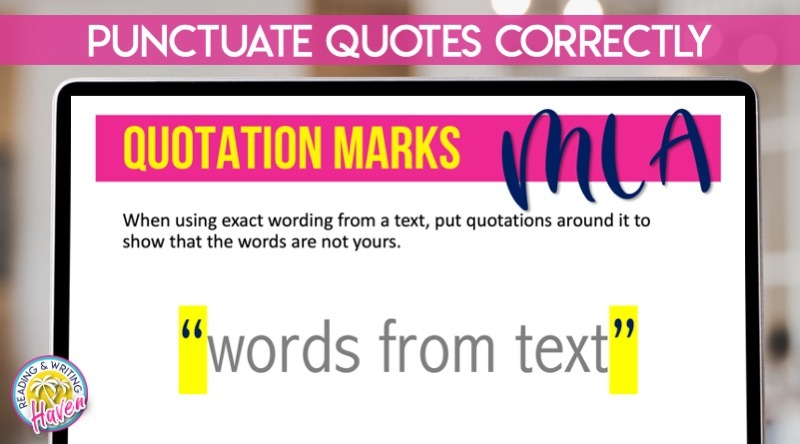 How to punctuate direct quotes in MLA Format #MLAFormat #ResearchWriting #MiddleSchoolELA