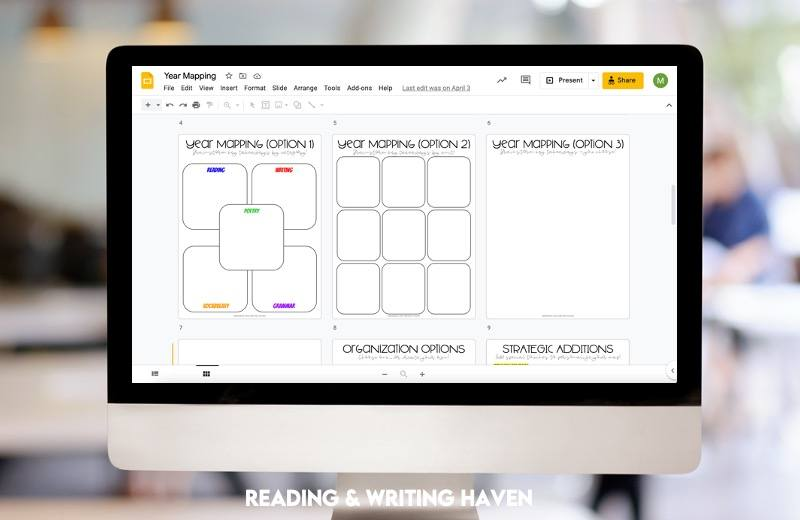 Year mapping graphic organizers for middle and high school