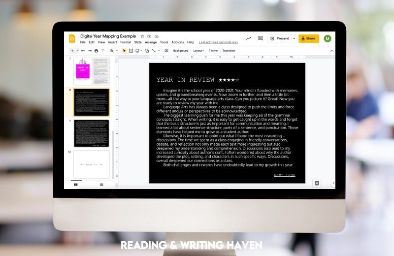 Engaging reflective writing assignment for the end of the year